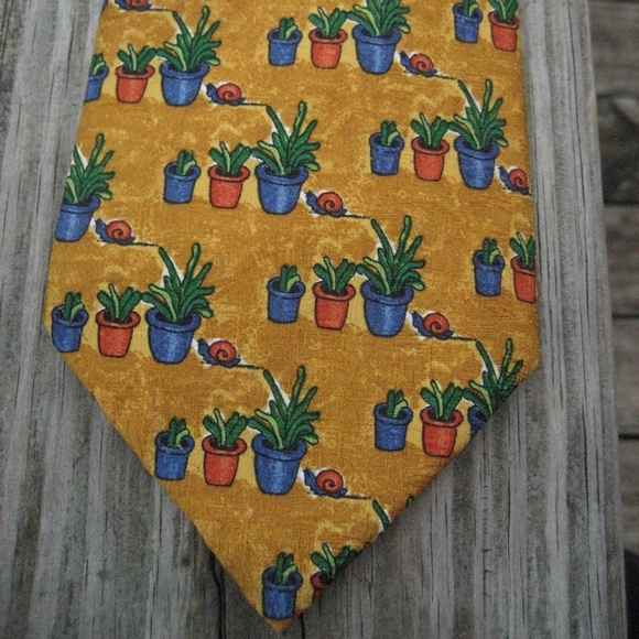 Givenchy Other - Givenchy Luxury Gold Cactus Succulent Silk Tie